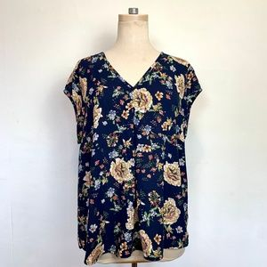 EUC Navy Floral Short Sleeve Flowy Boho Top